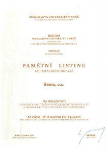 Pamětní list za zásluhy o rozvoj univerzity
